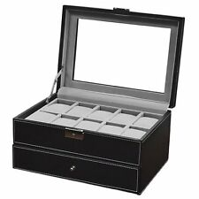 Watch Box Large 20 Mens Black Leather Display Glass Top Jewelry Case Organizer