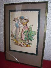 ANCIENNE TRES BELLE PEINTURE AQUARELLE PERSONNAGE D ANJOU 1950 signé MAUDY
