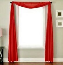 2 RED SCARF SHEER VOILE WINDOW TREATMENT CURTAIN DRAPES VALANCE