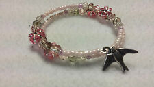 Bird Charm Pink Sparkle Flowers Glass Bead Memory Wire Bracelet Beaded Handmade