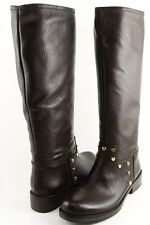 LOVE MOSCHINO JA26072J0WJH0301 Brown Leather Designer Knee High Boot 8.5 EUR 39