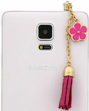 Pink Flower Cell Phone Charm Dust Plug Cover IPhone Galaxy Note Mega