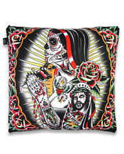 TATTOO MACHINE ROSA DAY OF THE DEAD CUSHION PILLOW COVER LIQUOR BRAND ROCKABILLY