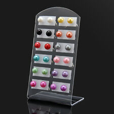 Mixed Colors 12 Pairs 6MM Pearl Round Ear Stud Earrings Set with Display Stand