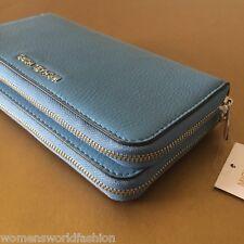 Michael Kors Adele Sky Blue Leather Double Zip Clutch Wallet Zip Around NWT $178