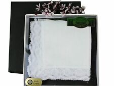 Thomas Ferguson Ladies Linen Lace Handkerchiefs (Set of 3) 10In Sq White
