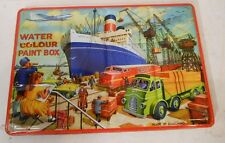 Antique TIN LITHO Page London WATER COLOUR PAINT BOX Color SHIPYARD Lithograph