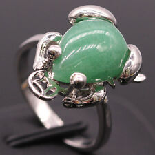 Lucky Green Jade Frog 18K White Gold Plated Ring Women Lady New Jewelry Size 8