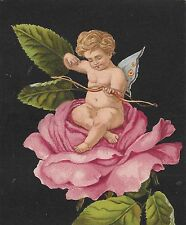 CUPID with BUTTERFLY WINGS ~ SITS ATOP A PRETTY PINK ROSE, Victorian Advertising