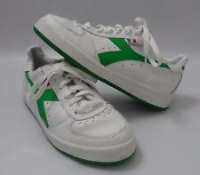 Mens Diadora Borg Elite White Green Leather Trainers Shoes Size 4.5