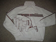 Vintage Adidas Running Track Jacket 2XL White Embroidered Rare Dress Lounge Mens