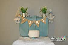 Wedding Bunting Cake Burlap Banner Hessian Vintage Retro Baby Shower Sweets Deco