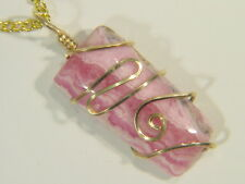 BUTW 14ct. Gold fill Wire Wrapped Rhodochrosite Pendant Necklace 4853E
