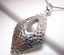 Hammered Parallelogram Convex Pendant 925 Sterling Silver Open Teardrop Center