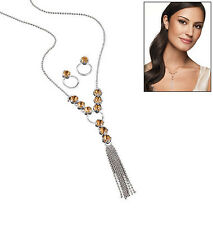 Avon Sparkling Y Necklace Earrings Gift Set Amber Color Crystal NIB FREE Jewelry
