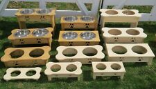 TABLE TOP DOG FEEDER Amish Handmade EXTRA TALL Raised Stand 2QT Paw Print Bowls