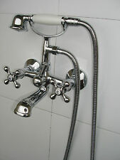 NEW VICTORIAN WALL MOUNTED CHROME BATH SHOWER MIXER TAPS, LOW PRESSURE, 019N2