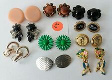 Lot of 10 Vintage Pair Clip-on Earrings MIxed Materials & Styles  #A91