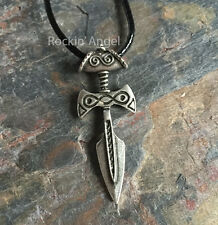 Antique Silver Plt Tribal Spearhead  Pendant Necklace Norse Slavic Gift Unisex
