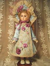 "DRESS FOR 18"" FRENCH DOLL SILK & ANTIQUE LACE VICTORIAN STYLE LT AQUA & PURPLES"
