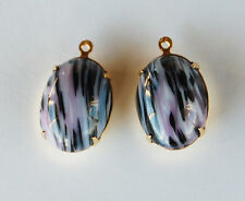 VINTAGE STRIPED OPAQUE GLASS OVAL PENDANTS • 18x13mm • BLACK LAVENDER WHITE