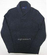 NWT Polo Ralph Lauren cashmere wool shawl sweater  Dark Gray M Italian Yarn