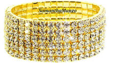 6 Line HUGE BLING Crystal Rhinestone Cz STRETCH Tennis CUFF Bracelet SUPER SEXY