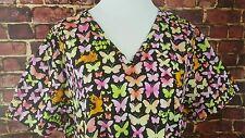 SCOOBY-DOO BUTTERFLY Tie-Dye Women's SCRUB Nurse Uniform Size 2X PLUS