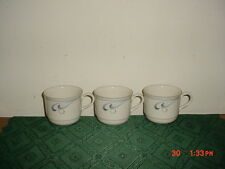 """3-PC LENOX CHINASTONE """"GRAY BRUSHSTROKES"""" COFFEE CUPS/USA/WHT-GRY/STAMPED!"""