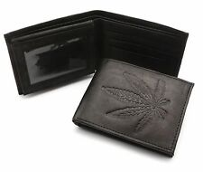 Bifold Genuine Leather Black Wallet with Marijuana Leaf Weed Embossed Design