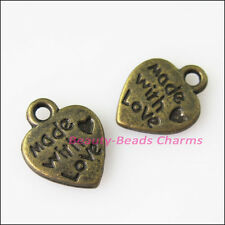 30Pcs Antiqued Bronze Tone Made with Love Heart Charms Pendants 9.5x12.5mm