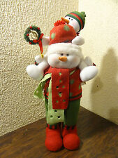 Snowman Father Child Son Piggy Back Ride On Shoulder Stuffed Decoration Display