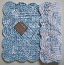 "Set of 2 C&F Blue & White Quilted Cotton Placemats ""ELIZA BLUE"""