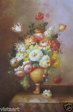 "24""x36"" Hand Painted Oil on Stretched Canvas ~Flowers in a Vase~"