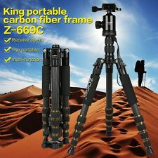 Z669C Professional Carbon Fiber Tripod Monopod&Ball Head Travel for DSLR Camera