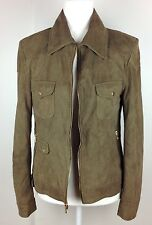 Elie Tahari Lamb Leather Jacket Soft Suede Coat Full Zip Collar Military Green