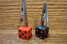 1 Red/Black 1 Black/Red =2 Two Dice Marijuana Roach Clips Standing Memo Clip