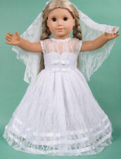 "US SELLER! First Communion White Dress fits 18"" American Girl Dolls, Style 5B1"