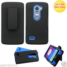 For LG Tribute 2 LS665 Leon LTE Risio Hybrid Dual Layer Case+Holster Black Blue
