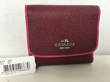 Coach 54748 Trifold Small Wallet in Edgestain Leather Burgundy/Cerise