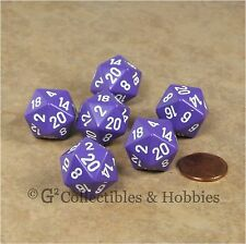 NEW Set of 6 Purple with White Numbers D20 Dice Twenty Sided RPG D&D Game D20s