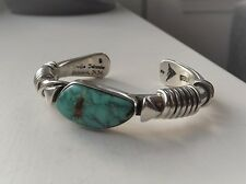 Sterling Silver Orville Tsinnie Cuff Bracelet, Turquoise Cabochon, Navajo, Wrap