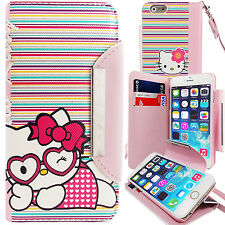 Cute Hello Kitty PU Leather Stripes Wallet Case for Apple iPhone 6S Card Cover