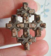 Fine antigua victoriana Antique Victorian Scottish Piedra Ágata De Granito Cruz De Plata MacIza Broche