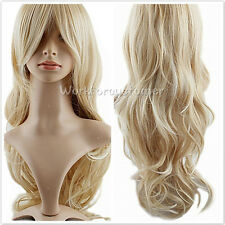 New Blonde Ladies Women Long Wavy Curly Full Dress Hair Wig Costumes Party Wigs