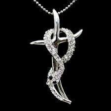 Lovely White Snake Cross Use Swarovski Crystal Necklace