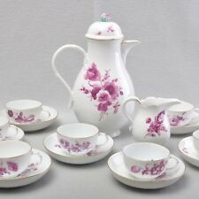 Meissen coffee service time point for 8 people, purple flowers, 1740-80, service