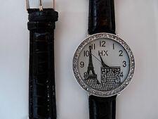 Montre Quartz FEMME Métal Bracelet Cuir PARIS Strass NEUF+1 Pile ref BM06 @