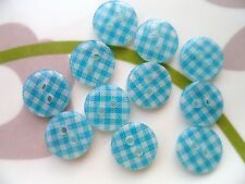50pcs Plastic Buttons Small Gingham Checked Craft Sewing Lady Shirt Aqua 1/2""
