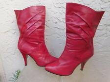 VINTAGE 80'S WILD PAIR RED COLOR LEATHER 4 INCH HIGH HEEL BOOTS SZ 7 1/2 B